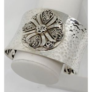 Lois Hill Sterling Silver Hammered Medallion Cuff